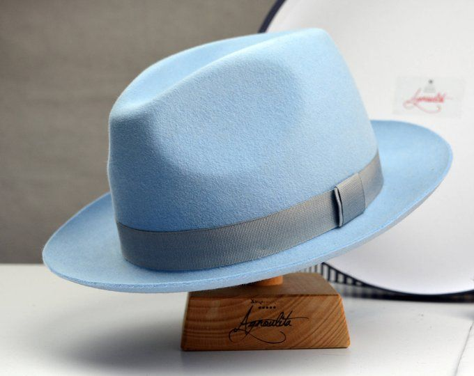 Fedora The Clubber Light Blue Fedora Hat For Men Mens Fedora Hats Mens Fur Felt Hat Fedora Hat Men Mens Fedora Hats For Men