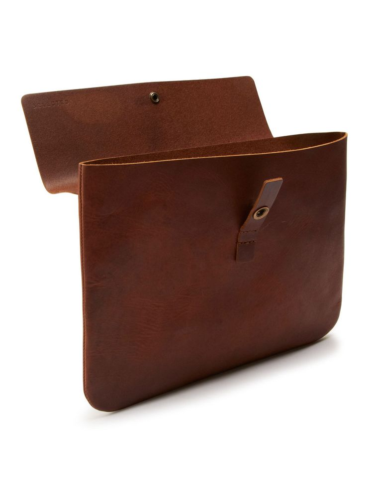 Alvin leather computer case J, Brown