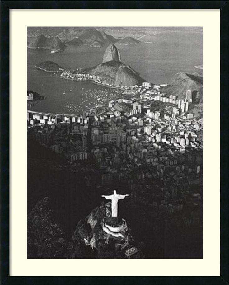 0-028944>Cristo Redentor Morro Do Corcovado Rio De Janeiro Framed Print by Marilyn Bridges Satin Black
