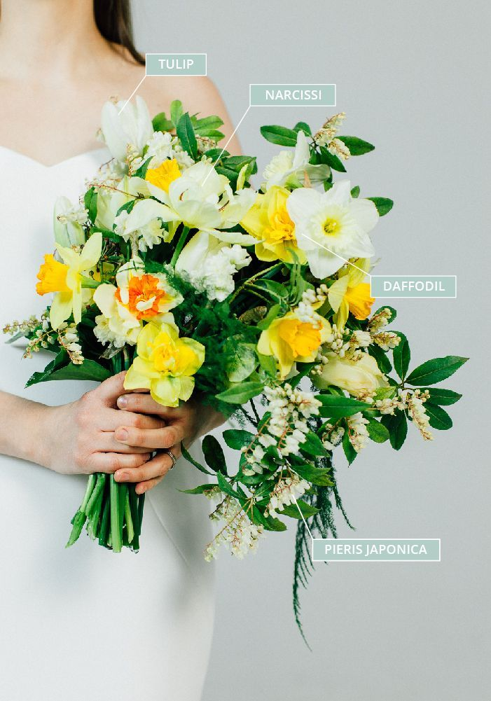 Spring Wedding Bouquet With Daffodils Narcissi Tulips Pieris Japonica Daffodil Bouquet Daffodil Bouquet Wedding Bridal Bouquet Flowers
