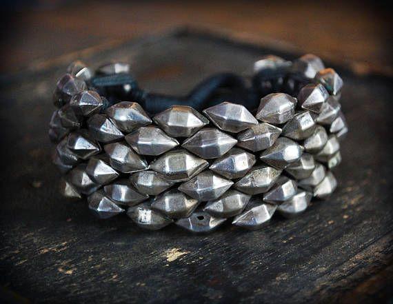 Antique Rajasthan Tribal Silver Beads Bracelet BY COSMIC NORBU