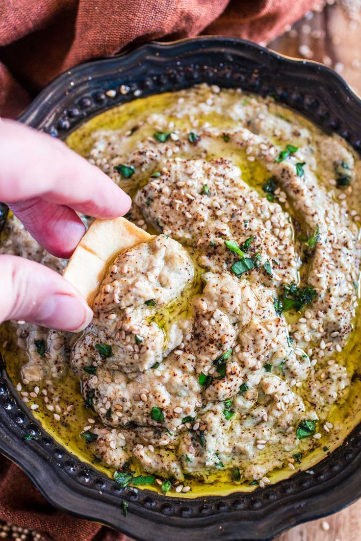Baba Ghanoush (Roasted Eggplant Dip)   www.oliviascuisine.com   This creamy and delicious roasted eggplant dip is a Lebanese classic! It is vegetarian, but you can make it vegan by omitting the sour cream.