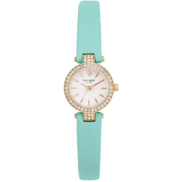 kate spade new york Women's Pave Tiny Metro Watch (260 BRL) ❤ liked on Polyvore featuring jewelry, watches, mint, mint green watches, mint watches, water resistant watches, bezel watches and pave watches