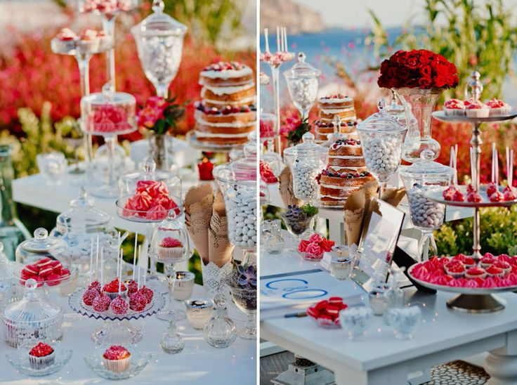 Red splash all over the welcome table!Cupcakes, cake pops, macaroons and meringues all dipped in the colour of passion!