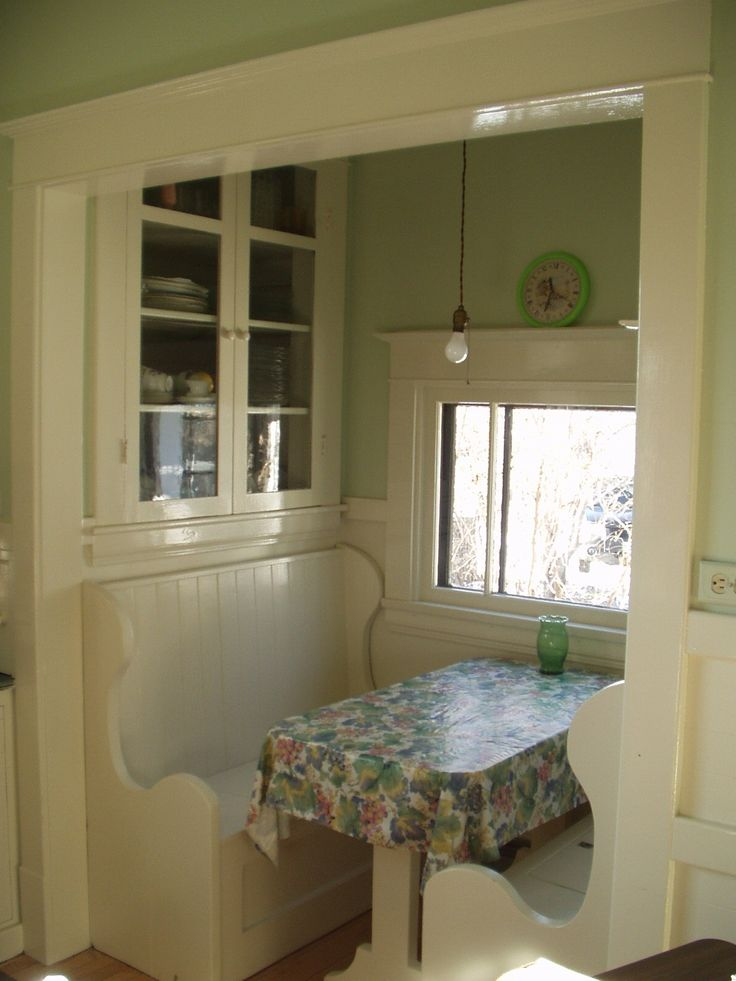 An original 1920's kitchen nook - complete with pendant light fixture