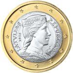 €1 Letland, dit is een Lets meisje in klederdracht