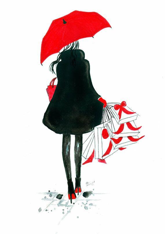Aquarel mode illustratie getiteld Kerstmis in de door FallintoLondon