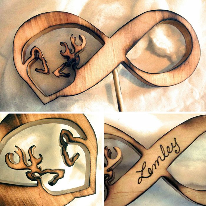 Rustic Infinity Cake Topper With Buck and Doe Heart