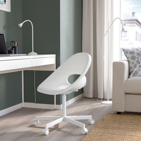 Loberget Blyskar Swivel Chair White Ikea In 2020 Swivel Chair Home Office Chairs Chair