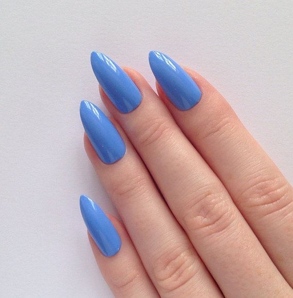 Periwinkle blue stiletto nails, Nail designs, Nail art, Nails, Stiletto nails, Acrylic nails, Pointy nails, Fake nails, False nails