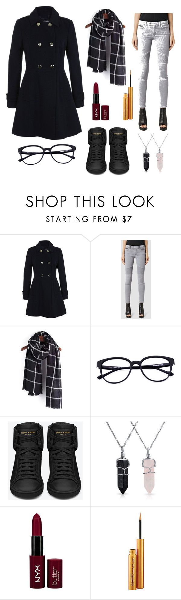 """Untitled #3"" by luminous-intensity ❤ liked on Polyvore featuring Miss Selfridge, AllSaints, Yves Saint Laurent, Bling Jewelry, NYX and MAC Cosmetics"