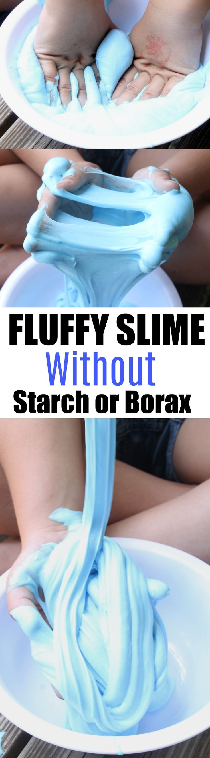 SUPER Fluffy Slime made without Starch or Borax. This is a safe slime recipe made especially for kids. It uses saline solution and baking soda and has the best fluffy slime consistency. This slime is extra soft and squishy. You'll love it.