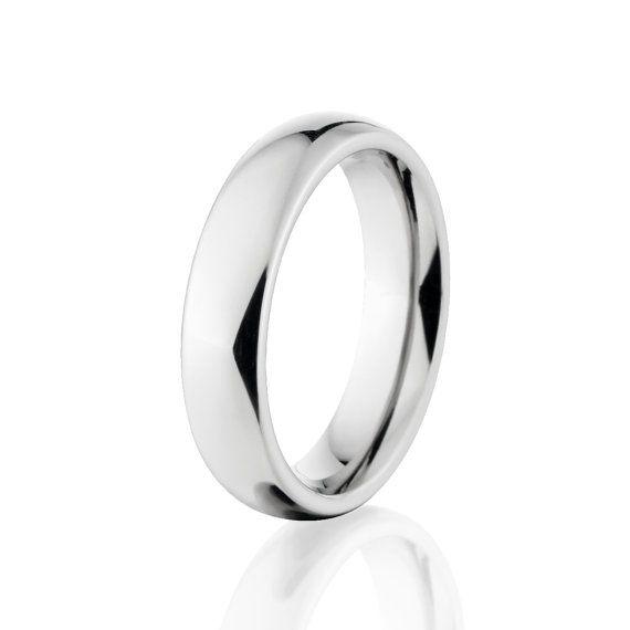 Cobalt Chrome Ring, Premium Mirror Finish, Cobalt Wedding Bands: COB-5HR-P