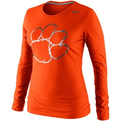 Nike Clemson Tigers Seasonal Tri-Blend Logo Long Sleeve T-Shirt - Orange