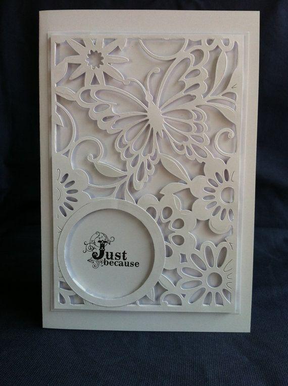 White on white card blanco blanc Swirls Butterfly door Bermarc, €12.50: