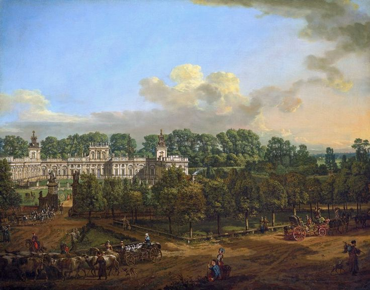 "Wilanów Palace as seen from the entrance by Bernardo Bellotto, 1776 (PD-art/old), Zamek Królewski w Warszawie (ZKW), commissioned by Stanislaus Augustus, after 1771 the palace was owned by King's cousin Izabela Lubomirska ""The Blue Marquise"""