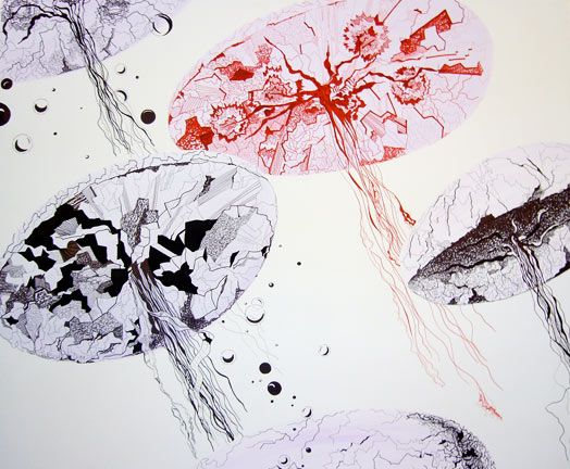 Animalia Aqvatilia. Ink and acrylic on canvas 100x120 cm