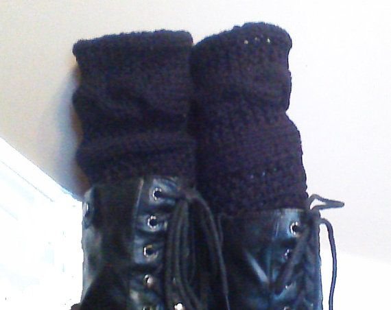 Black Hand Knitted Leg Warmers/Boot Cuffs/Boot by HandmadeTrend, $30.00