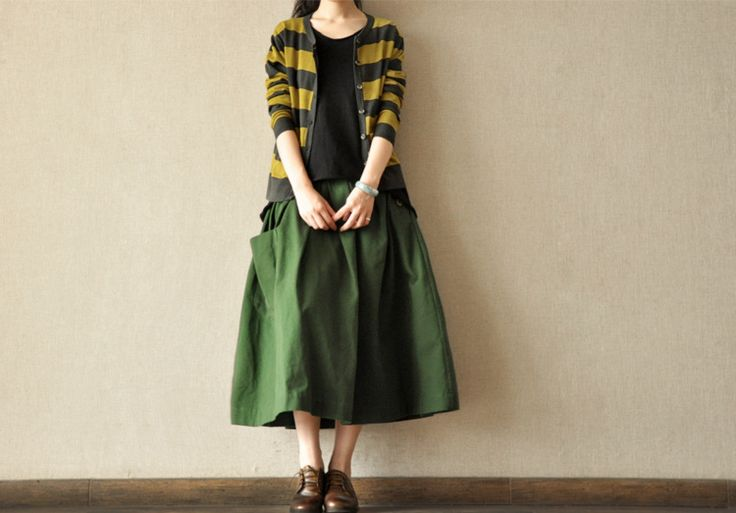 Green Sun Skirt Women Clothes, Daily leisure joker Linen soft Cotton Linen Women Clothes