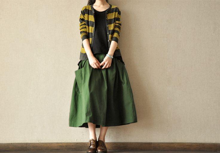 Green Sun Skirt Women Clothes, Daily leisure joker Linen soft Cotton Linen Women Clothes
