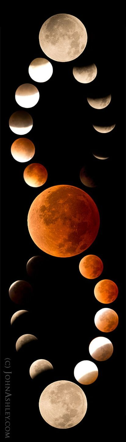 Montana Moon: Photographer John Ashley created this striking mosaic of the blood moon phases of the total lunar eclipse on April 15, 2014 from Kila in northwestern Montana. via Space.com / Sacred Geometry <3