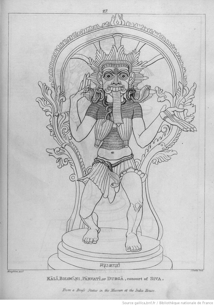 [pl.27 : divinités hindoues.] Kâli, Bhawâni, Pârvati or Durgâ, consort of Siva. From a brafs statue in the Museum at the India House. [cote : Réserve DS 422.R4 M 81]