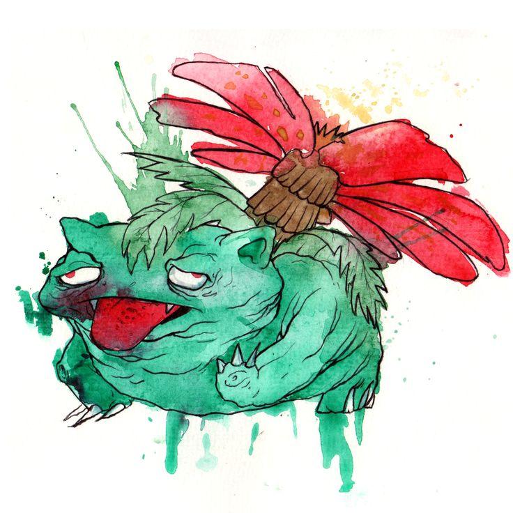 Weird Venusaur illustration by glönn. catch pokémon on paper instead of pokémon Go