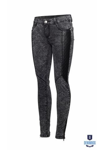 marble jeans with eco-leather   Denimbox.pl, 149,90