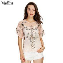 Mujeres flor sexy bordado volantes camisas de malla opacidad transparente corto manga de la blusa de las señoras tops casuales blusas DT992(China (Mainland))