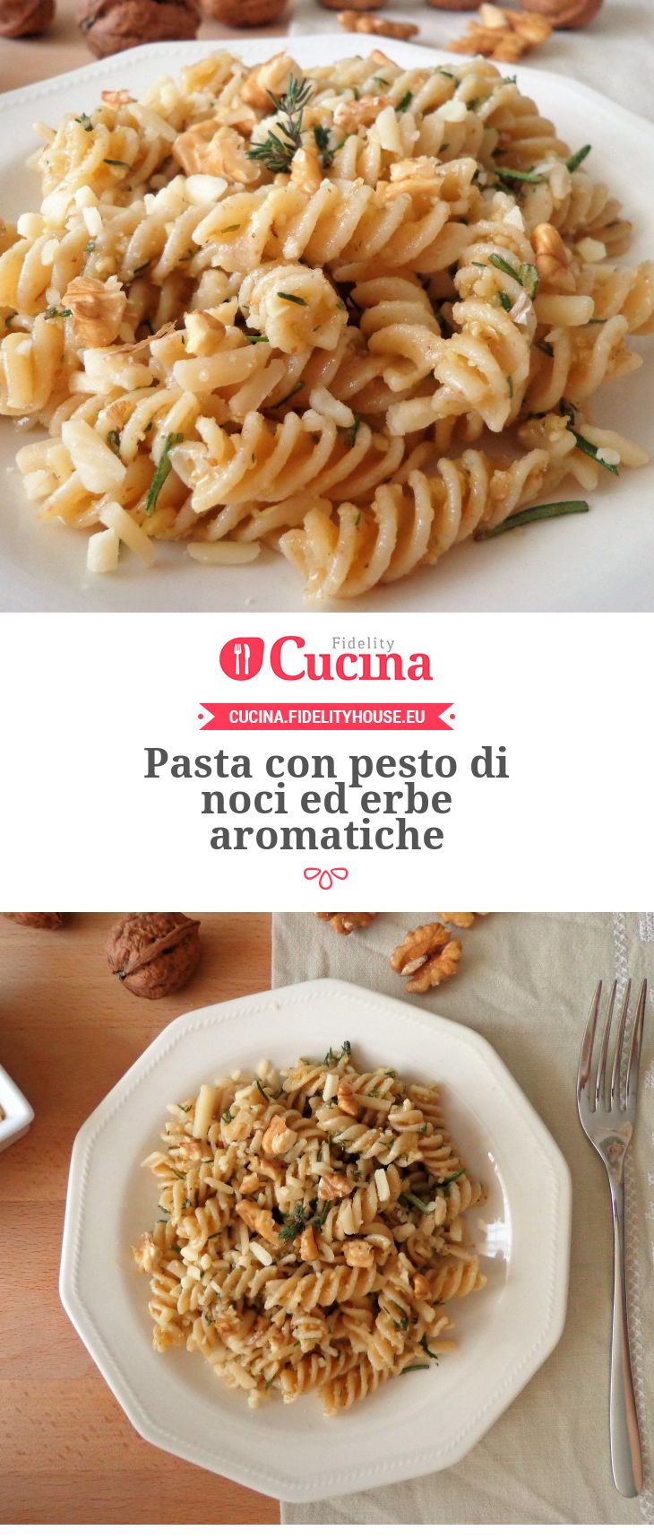Pasta con pesto di noci ed erbe aromatiche della nostra utente Magdalena. Unisciti alla nostra Community ed invia le tue ricette!