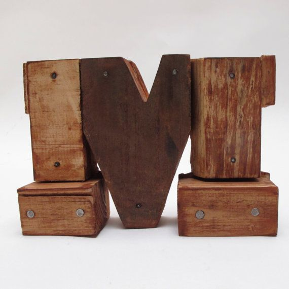 "Wooden letters ""M"". Industrial letters. Wall hanging initals Letter, Hanging Wood Letters,Nursery Letters, 11"" tall"