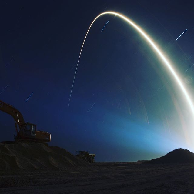 NASA Exploration Systems - In this time lapse photograph, a United Launch Alliance Atlas V rocket lifts off from Space Launch Complex 41 illuminating a beach restoration site at NASA's Kennedy Space Center in Florida. Photo credit: NASA/Tony Gray #kennedyspacecenter #nasa #explore #rocket #progress #space