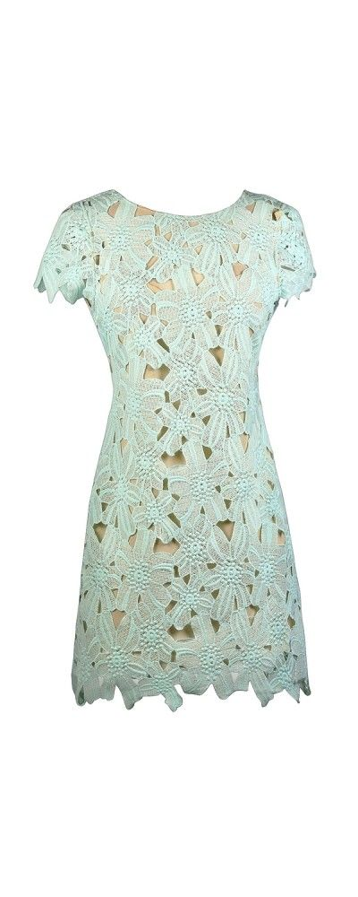 Lily Boutique Wallflower Mint and Beige Lace Sheath Dress, super cute!!