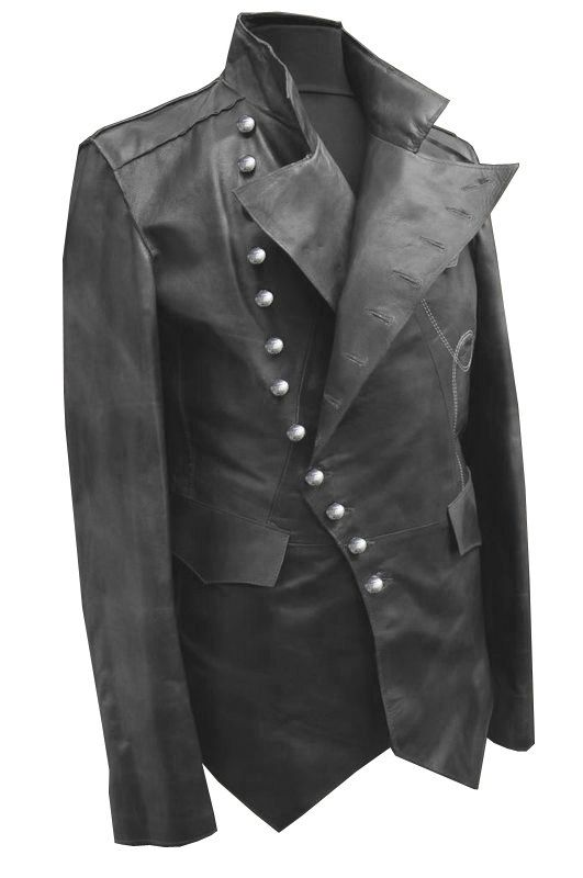 Steam punk military style leather jacket, real cow hide leather jacket, Steam punk black leather jacket on Etsy, $239.99