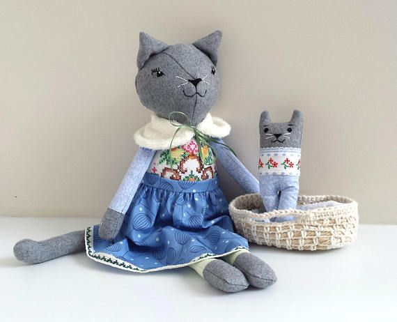 Rag Doll Cat Heirloom Cat Doll with Kitten in Moses Basket