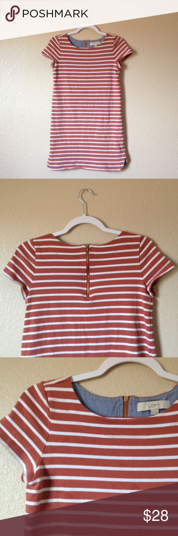 Lift Striped T-Shirt Dress Super cute and comfy Loft striped t-shirt dress, size XS. I accept reasonable offers! 😊 LOFT Dresses