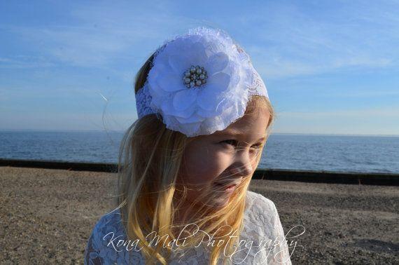 White Flower Headband Lace Flower Headband by KonaMaliCreations