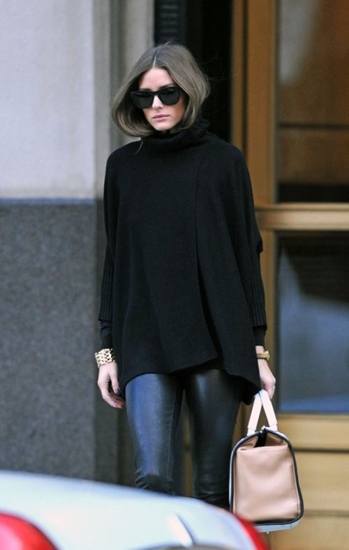 black turtleneck and leather skinnies