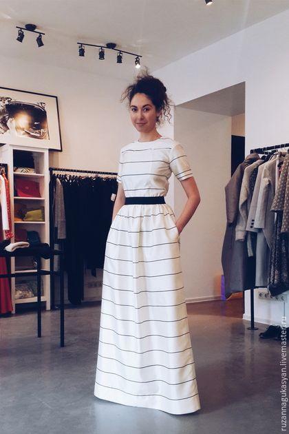 Платья ручной работы. Ярмарка Мастеров - ручная работа. Купить Платье в пол от Ruzanna Gukasyan. Handmade. Черно-белый