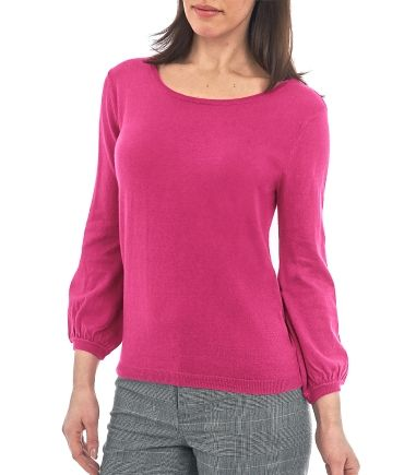 Wool Overs Womens Blouse Sleeved Jumper Cerise