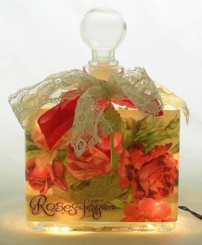 A Bit of Rose Fragrance Perfume Bottle  Nightlight ( Night Light ) - Roses And Teacups