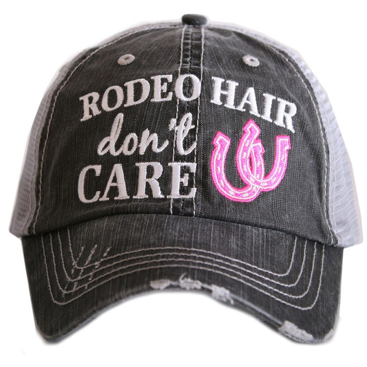"HAT - BASEBALL TRUCKER HAT - ""RODEO HAIR DON'T CARE"""