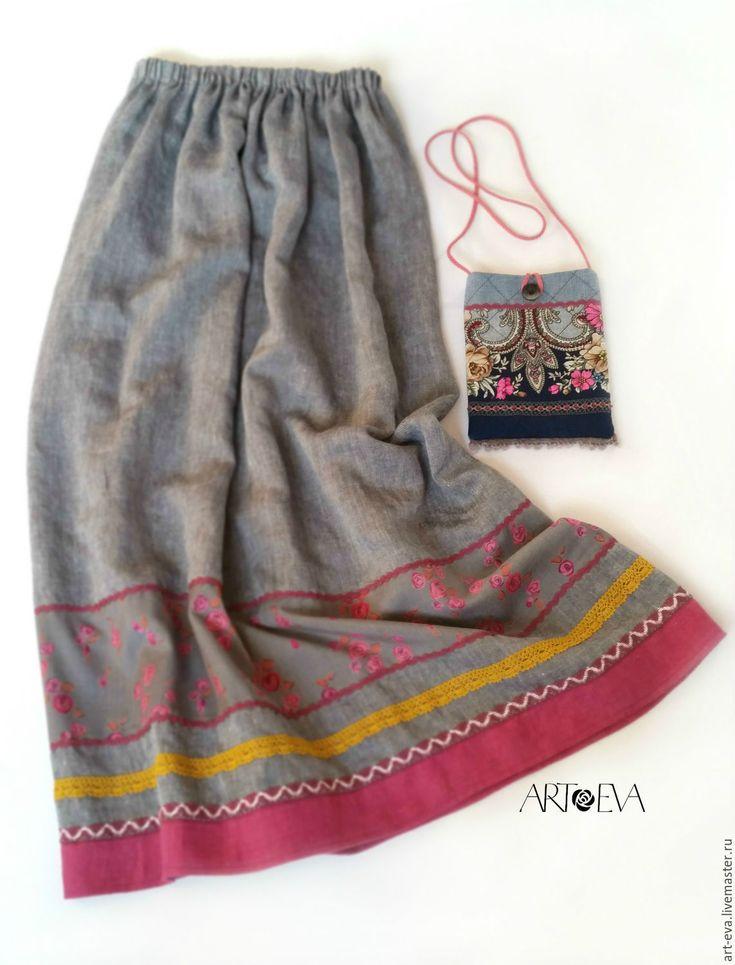 Купить Юбка льняная серая - серый, однотонный, юбка женская, юбка длинная, юбка в пол