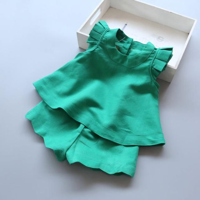 Girls Clothing Sets New Arrival O-Neck Sleeveless Solid Kids Clothing Sets Children Clothing