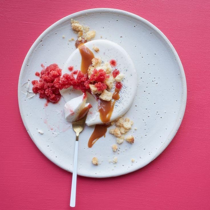 Panna Cotta with Berry Granita and Caramel Recipe  - Jeremiah Stone, Fábian von Hauske | Food & Wine