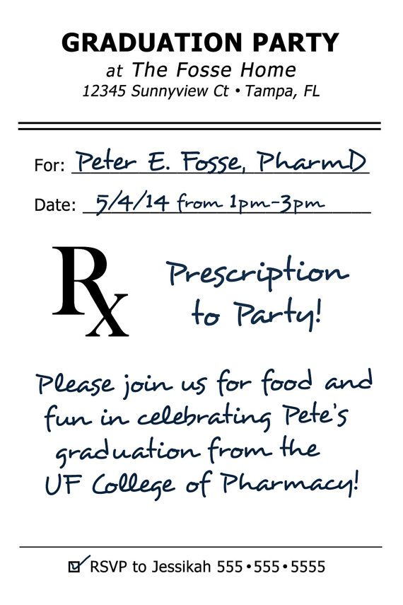 Pharmacy College Graduation Party Invite by nataliecutting on Etsy, $8.00
