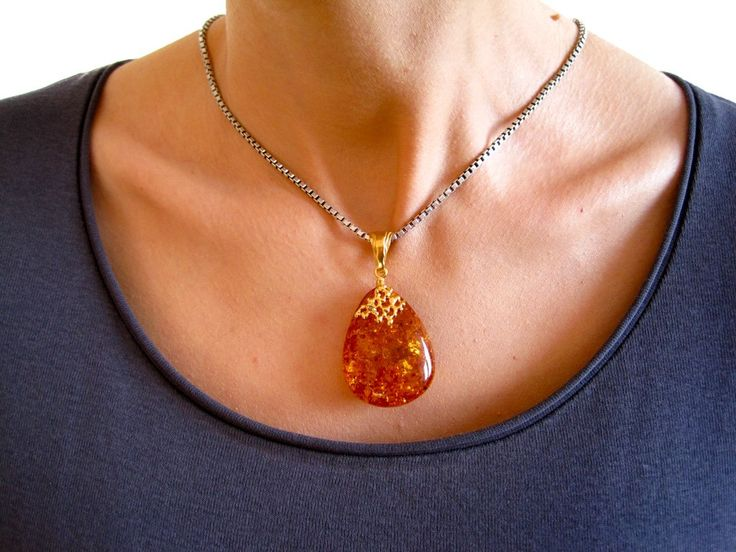 Sparkling Cognac Gold Plated Amber Pendant with Cognac Baltic Amber, for her, amber gift