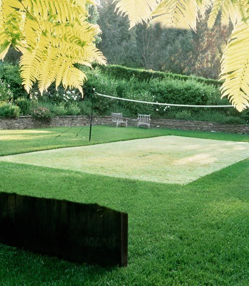 Make your own grass court right in your backyard. Carving out a special spot, by planting area with a resilient turf (tall fescue or Bermuda grass) that contrasts with the surrounding lawn. To prevent the two from mingling, install metal or plastic edging around your court's perimeter. Then, maintain visual separation with a weekly mowing, at the lowest setting. - Country Living