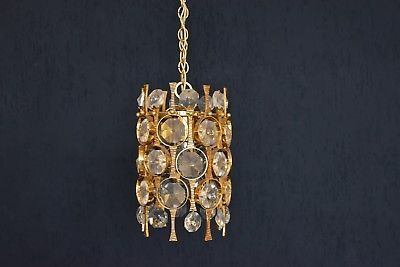 1960er Palwa Kristall Pendelleuchte pendant lamp Made in Germany Crystal Glass