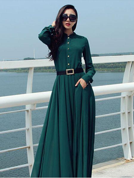 Casual Buttons Long Sleeve Elegant Maxi Chiffon Dress